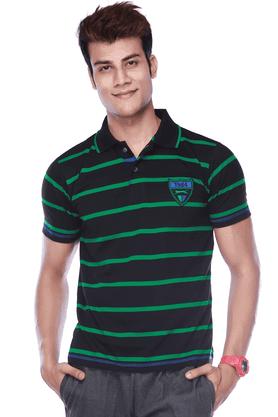 BLACK PANTHERMens Short Sleeves Regular Fit Stripes Polo T-Shirt - 8894569
