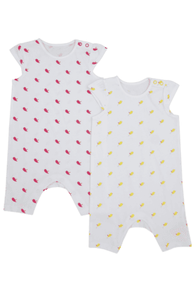 MOTHERCARE Girls Cotton Printed Bodysuit - Pack Of 2