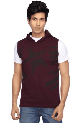 Mens Short Sleeves Slim Fit Hooded Neck Print TShirt