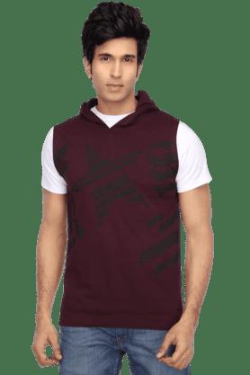 49683f422 Mens Short Sleeves Slim Fit Hooded Neck Print TShirt