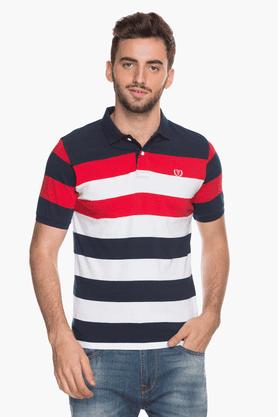 Mens Short Sleeves Slim Fit Stripe Polo T-Shirt