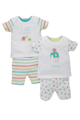 MOTHERCARE Unisex Mummy And Daddy Shortie Pyjamas -Pack Of 2