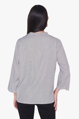 Womens Band Collar Stripe Top