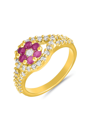 MAHI Mahi Gold Plated Glittering Beauty Finger Ring With Ruby For Women FR1100645G