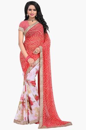 Women Chiffon Half & Half Bandhani Lace Printed Saree