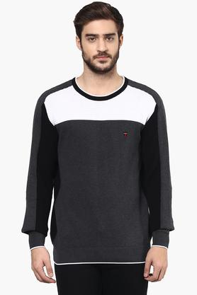 LOUIS PHILIPPE SPORTS Mens Round Neck Colour Block Sweater