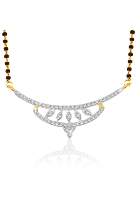 SPARKLES 18Kt Gold Mangalsutra With Diamond Pendant Along With Gold Plated Silver Chain And Black - 7499791