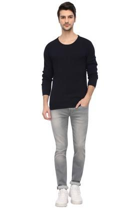 Mens Round Neck Self Printed Knitted Sweater