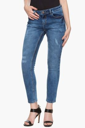 Womens 5 Pocket Stone Wash Whiskered Jeans