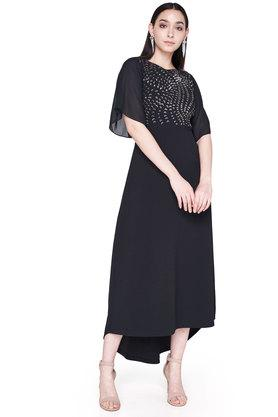 Womens Round Neck Solid Embellished High Low Gown