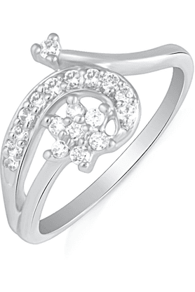 MAHI Mahi Rhodium Plated Endearing Turn Finger Ring With CZ For Women FR1100621R
