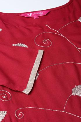 Womens Notched Neck Embroidered Kurta and Palazzo Set