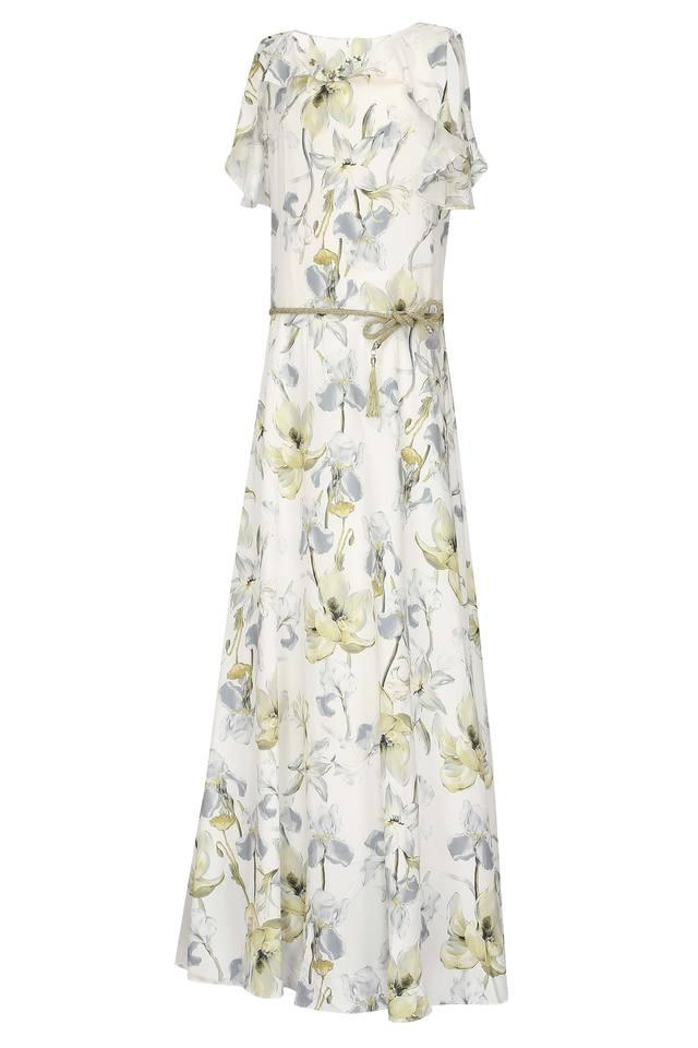 Girls Notched Collar Floral Print Gown
