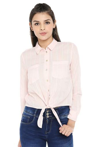 Womens Striped Casual Tie Up Shirt