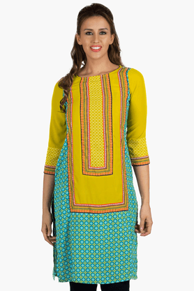 FUSION BEATS Womens Slim Fit Printed Kurta - 201217684