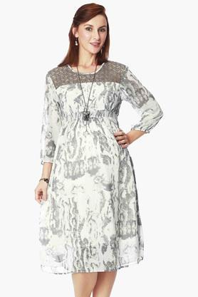 NINE MATERNITYWomens Round Neck Printed Dress