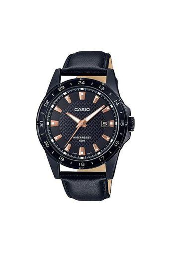Mens Black Dial Leather Analogue Watch - MTP-1290BL-1A2V