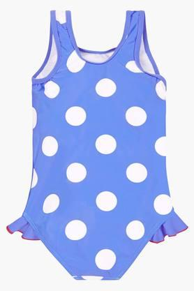 Girls Round Neck Printed Swimsuit