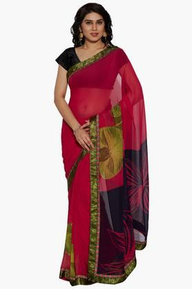 Women Printed Georgette Saree With Printed Border