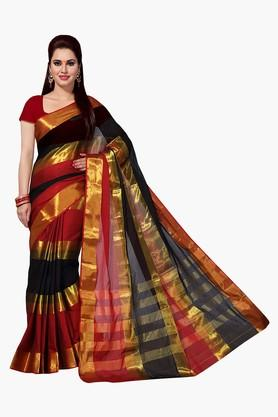 ISHIN Women Mercerised Cotton Silk Solid Saree