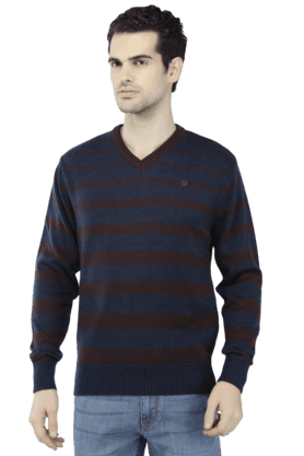 T-BASE Mens Full Sleeves V Neck Slim Fit Stripe Sweatshirts - 200176392