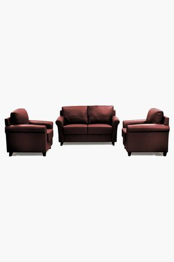 Garnet Cherry Leatherette Sofa (2-1-1 Sofa Set)