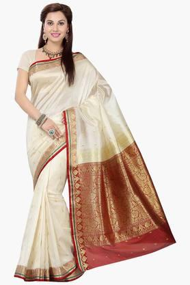 ISHIN Womens Art Silk Brocade Banarasi Saree