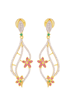 TUAN Gold Plated Dangle Earring With Flower Design -IER-587-Pink