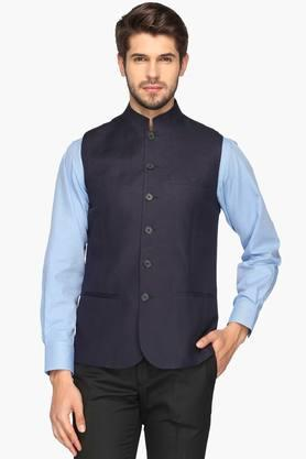 Mens Mandarin Neck Slub Nehru Jacket