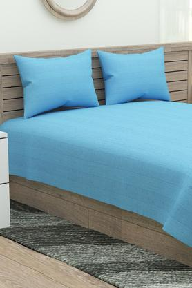 Sonata Classic Striped Double Bed Sheet with 2 Pillow Covers