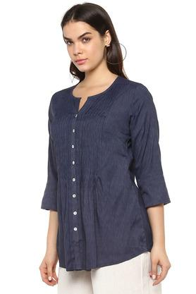 Womens Notched Collar Slub Tunic