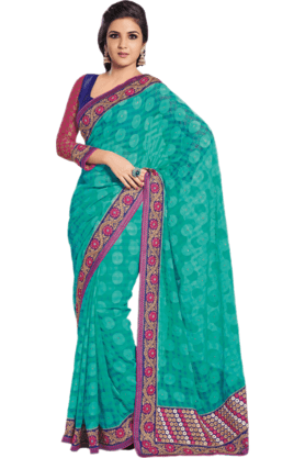 DEMARCA Womens Embroidered Saree (Buy Any Demarca Product & Get A Pair Of Matching Earrings Free) - 200946959
