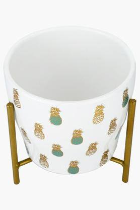 Round Pineapple Print Ceramic Planter with Stand