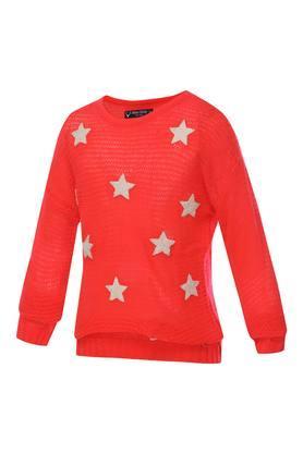 Girls Round Neck Knitted Sweater