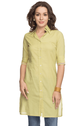 BOHEMYAN BLUE Women Cotton Short Kurta - 200937203