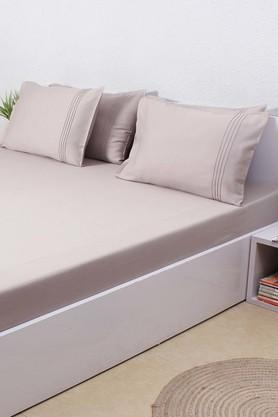 Solid 100% Cotton Sateen King Bedsheet & 4 Pillow Covers - Grey