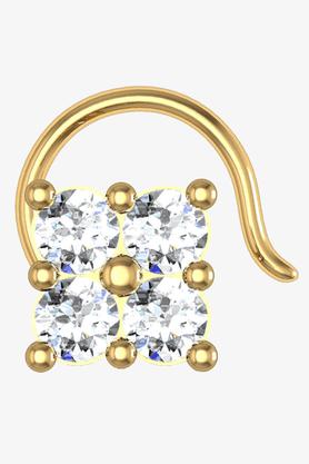 VELVETCASEWomens 18 Karat Yellow Gold Nose Ring (Free Diamond Pendant) - 201065099
