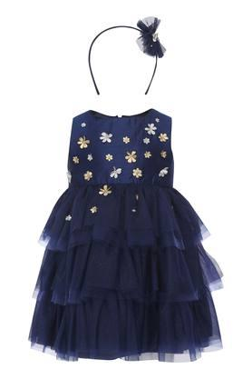 Girls Square Neck Applique Tiered Dress with Hairband