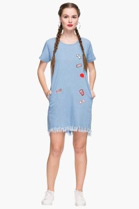 Womens Round Neck Assorted A Line Dress