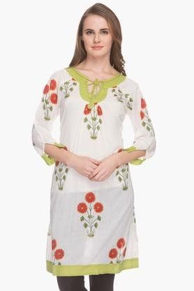 BOHEMYAN BLUE Womens Tie Up Neck Printed Kurta
