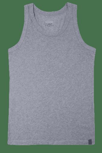 Mens Stretch Solid Round Neck Vest