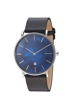 Mens Blue Dial Leather Analogue Watch - SKW6471