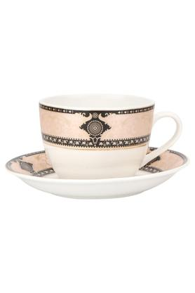 Round Printed Crown Cup and Saucer - Set of 12 Pcs