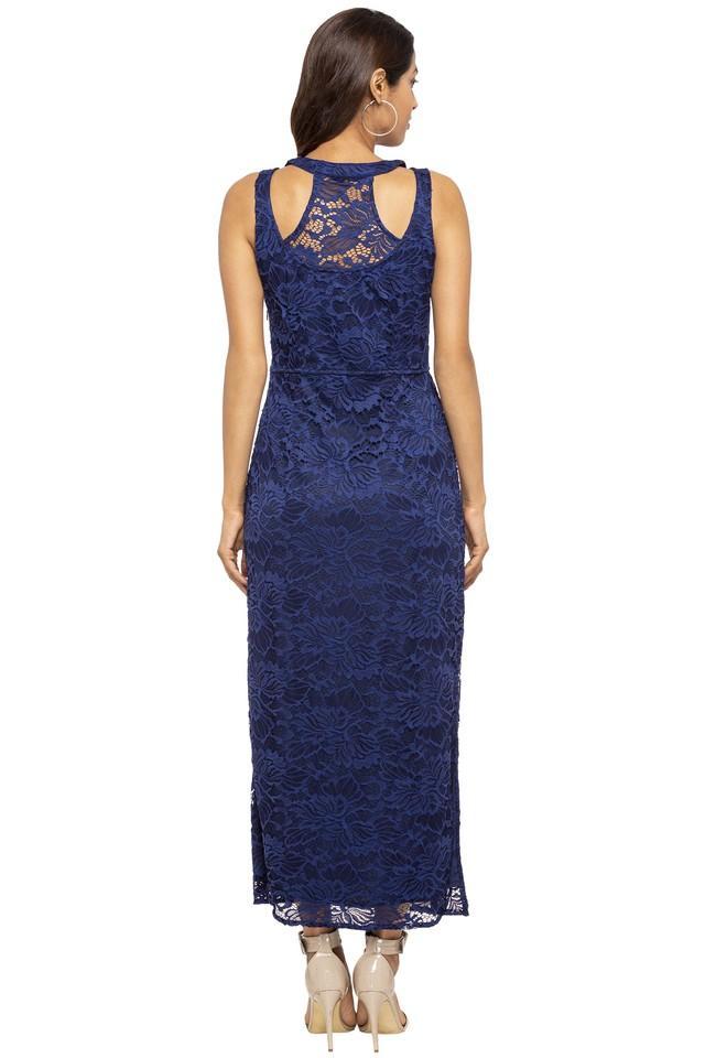 Womens Round Neck Lace Maxi Dress