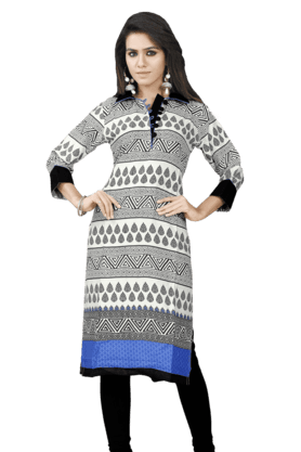 DEMARCA Womens Printed Kurta (Buy Any Demarca Product & Get A Pair Of Matching Earrings Free) - 200936917