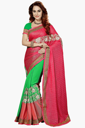 DEMARCAWomens Embroidered Saree (Buy Any Demarca Product & Get A Pair Of Matching Earrings Free) - 201461379_9463