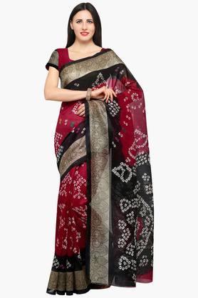 ISHINWomen Bhagalpuri Art Silk Printed Bandhej Saree
