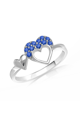 MAHI Mahi Valentine Love Rhodium Plated Blue Heart Ring Made With Swarovski Elements For Women FR1104001RBlu