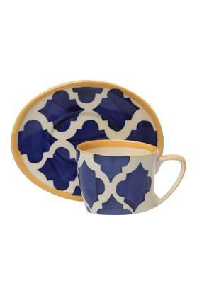 Round Printed Moroccan Cup and Saucer
