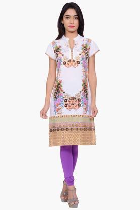 JUNIPERWomen Floral Print Cotton Chinese Collar Kurta - 201932833